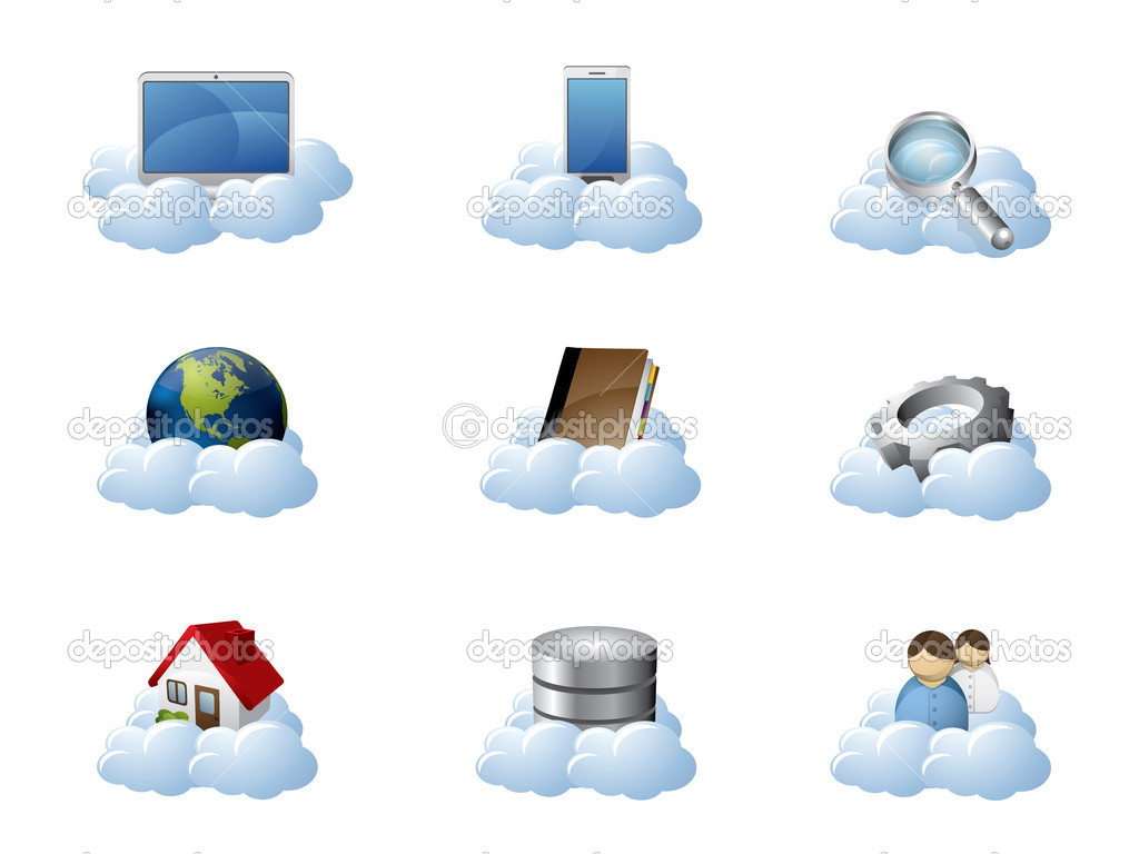 Vector Icons for Cloud Computing — Stock Vector #6032582