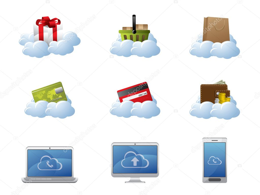 E-Commerce in Cloud Computing — Stock Vector #6033013
