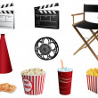 Cinema symbols vector set isolated on white — Stock Vector