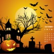 October calendar - Halloween with haunted house, bats and pumpki — Stock Vector