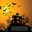 Halloween with haunted house, bats and pumpkin — Stock Vector