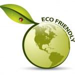 Vector Green ECO FRIENDLY Label — Stock Vector