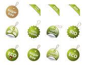 Etiquetas e iconos bio y eco — Vector de stock
