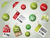 Collectie van verkoop etiketten en badges — Stockvector