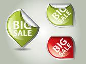 круглые этикетки - наклейки на большие продажи — Cтоковый вектор