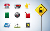 Gasoline, oil and energy icons — Stock Vector
