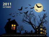 October calendar - Halloween with haunted house, bats and pumpki — Stock Vector