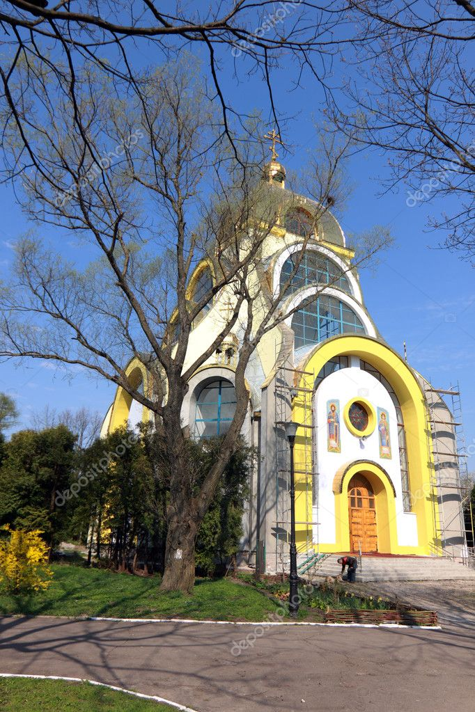 Orthodox church under construction in the park — Stock Photo #6256317