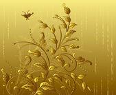Floral background gold — Stockvektor