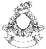 Black and white insignia — Stock Vector