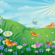 Green landscape with flowers and butterflies — Stock Vector