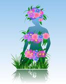 Silhouette della ragazza con fiori — Vettoriale Stock