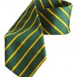 Green tie with yellow stripes — Stock Photo