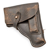 Vintage leather pistol holster — Stock Photo