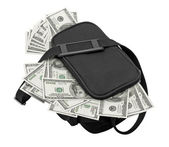 Black bag full of money. — Stock Photo
