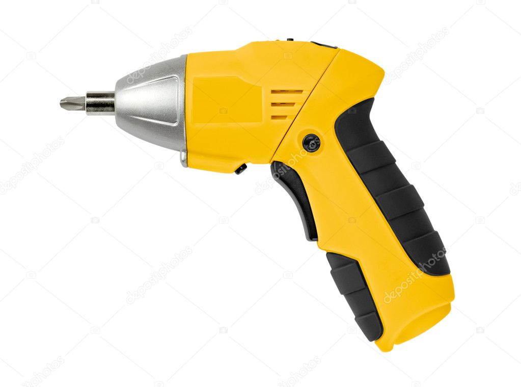 Yellow Cordless Drill. Isolated on white background. — Stock Photo #6462864