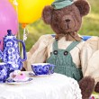 Cute bear at tea party — Stock Photo