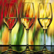 Three wine glass with colorful background — Stock Photo #5830546