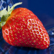 Fresh strawberry on blue plate — Stock Photo
