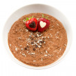 Stock Photo: Chocolate mousse with two strawberries
