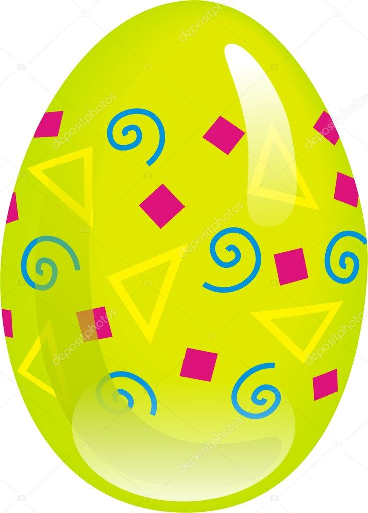 One easter egg on white background  Stock Vector #5430224
