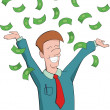 Man rejoice at getting money — Stock Vector