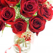 Stock Photo: Red Roses In Vase With Heart