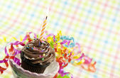 Birthday Cupcake With Candle — Stock Photo