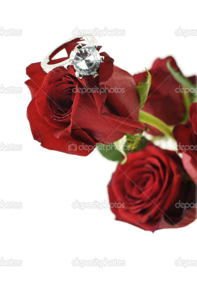A bouquet of red roses with a sparkling diamond engagement ring on a rose, selective focus on diamond with white background  Stock Photo #5421175
