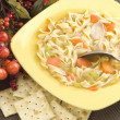 Royalty-Free Stock Photo: Homemade Chicken Noodle Soup with Crackers