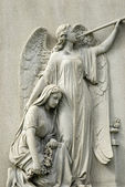 Marble Statue of Mourning Woman and Angel — Stock Photo