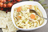Homemade Chicken Noodle Soup — Stock Photo