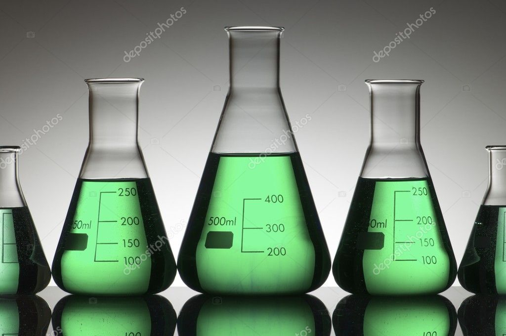 Five conical glasses laboratory on a white background — Stock Photo #5762871