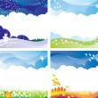 Season backgrounds set — Stock Vector