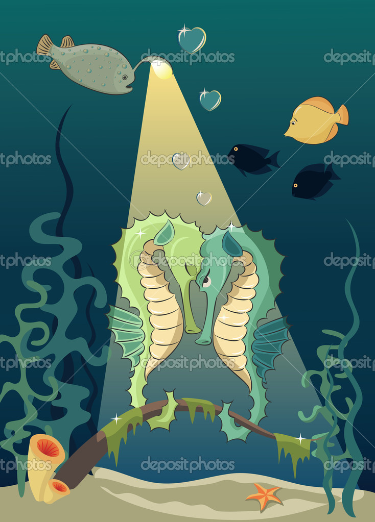Two seahorses on the  rendezvous. Cartoon style, concept of love — Vettoriali Stock  #5441156