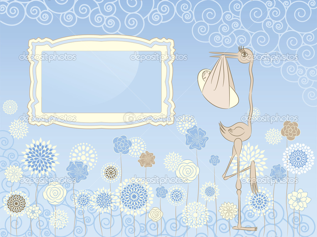 Illustration of stork with baby in pastel blue colors, for design of greetings card — Stock Vector #5660613