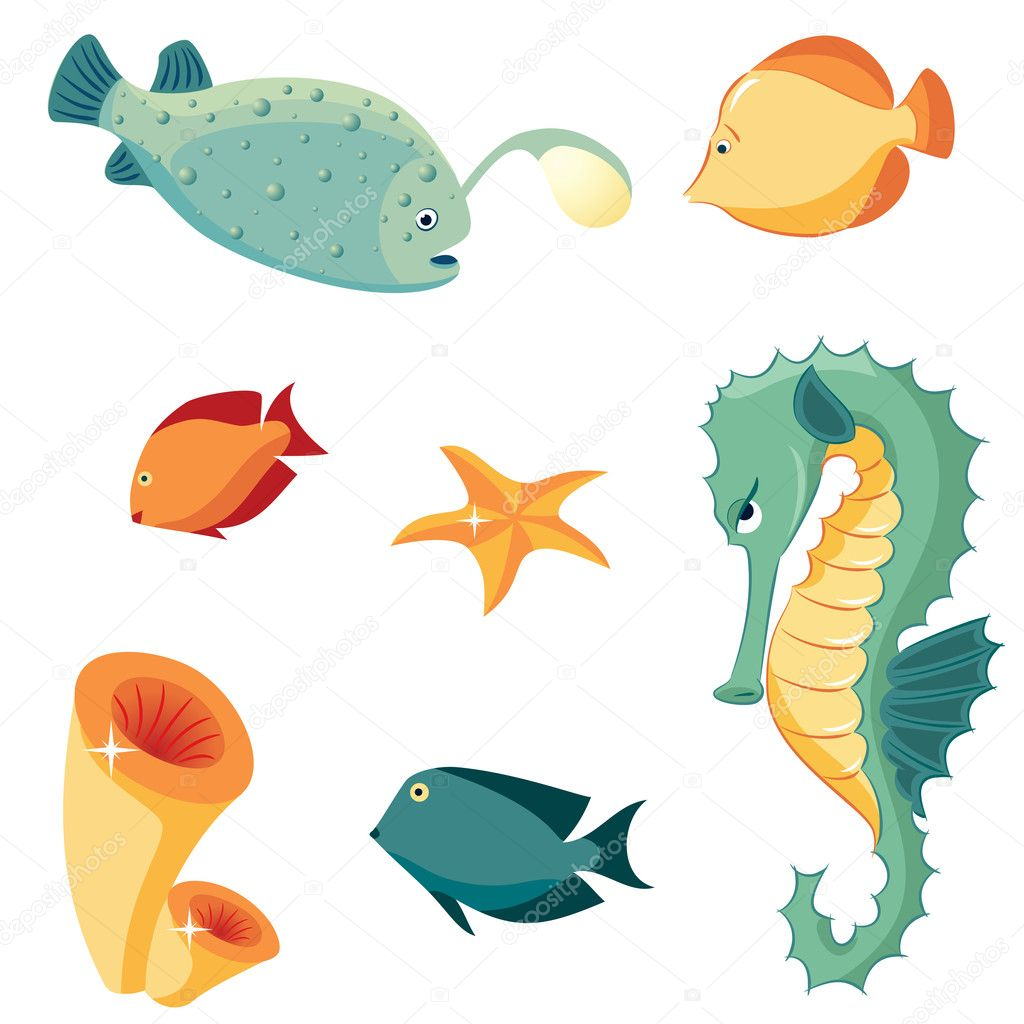 Set of sea animals: seahorse, fishes, sponges and starfish. Cartoon style. — Stock Vector #5854335