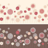 Line seamless with round flowers — Stock Vector
