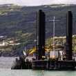 Stock Photo: Dredger and barge