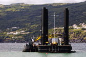 Dredger and barge — Stock Photo