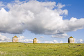Three agriculture silos — Stock Photo
