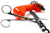 电话管和剪刀 — 图库照片