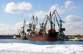 Winter in seaports — Stock Photo