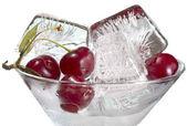 Cherry and ice — Stock Photo
