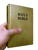 Bible in hand — Stock Photo