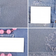 A set of four photos denim and white card — Stock Photo