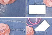 A set of four photos denim and pink flower — Stock Photo