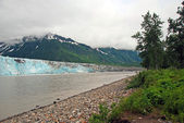 Glacier, River, and mountains — Stock Photo