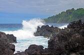 Vlny a skály na pobřeží havajského — Stock fotografie