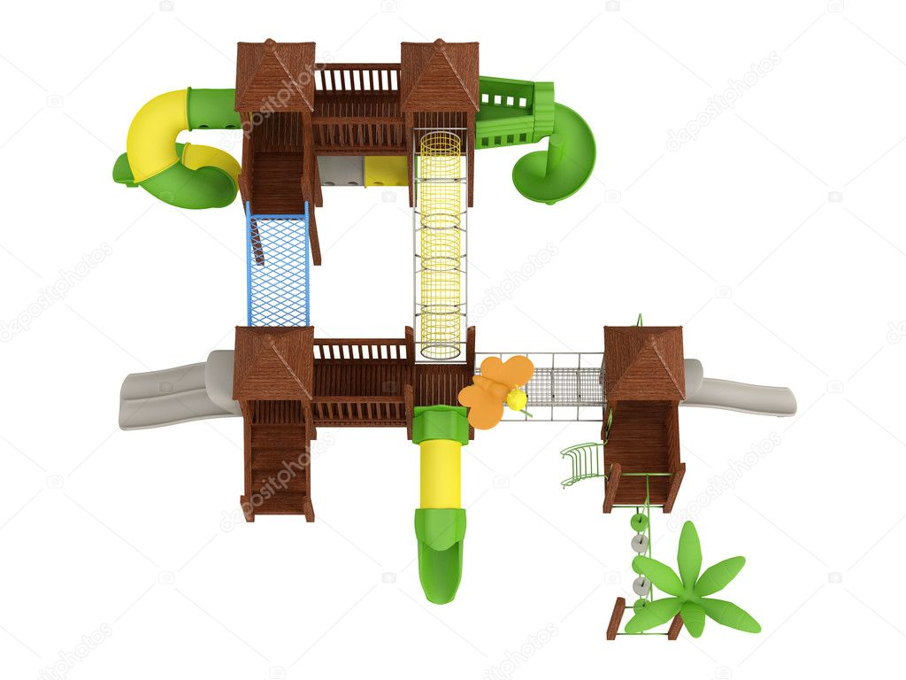 Wooden playground isolated on white background  Stock Photo #5782597